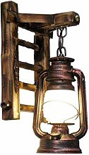 HEZHANG Retro Bamboo Ladder Wall Lamp Glass