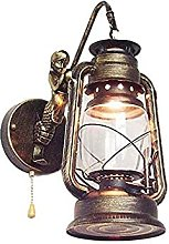 HEZHANG Retro Wall Light with Switch Antique