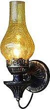 HEZHANG Retro Wrought Iron E27 Wall Light Glass
