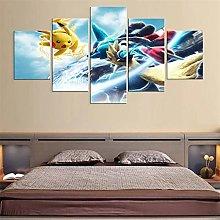 HFDSA Print Painting Canvas, 5 Pieces Anime