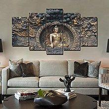 HFDSA Print Painting Canvas, 5 Pieces Buddha