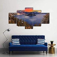 HFDSA Print Painting Canvas, 5 Pieces Crater Lake
