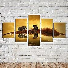 HFDSA Print Painting Canvas, 5 Pieces Elephant