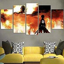 HFDSA Print Painting Canvas, 5 Pieces Fire Canvas