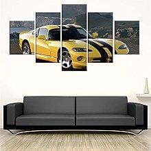HFDSA Print Painting Canvas, 5 Pieces Sports Car