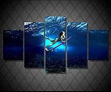 HFDSA Print Painting Canvas, 5 Pieces Surf Beach