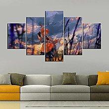 HFDSA Print Painting Canvas, 5 Pieces Swordsman