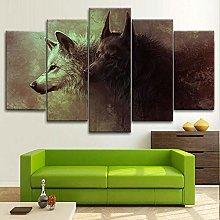 HFDSA Print Painting Canvas, 5 Pieces Wolf Art
