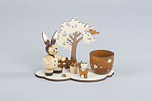 HGD CO08-2944 Easter Bunny with Egg Cup, Wood