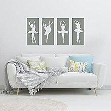 HGFDHG Ballerina Panel Wall Decal Four Girls