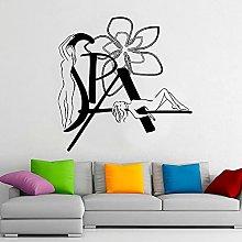 HGFDHG Girl and flower wall decals spa room beauty