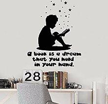 HGFDHG Reading Boy Vinyl Wall Sticker Book Reading