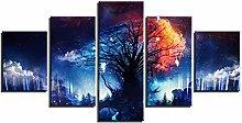 HGFDS prints on canvas 5 piece Print Wall Art Tree