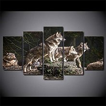 HGFDS prints on canvas 5 piece Print Wall Art Wolf