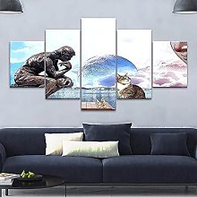 HGFDS Wall Art 5 Pieces Canvas Abstract Statue