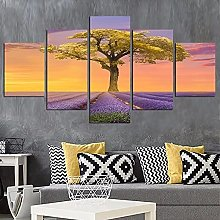 HGFDS Wall Art 5 Pieces Canvas Tree Prints
