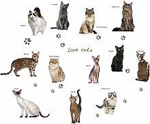 HGFJG 3D Lovely Cat Type Wall Sticker Cabinet