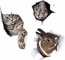 HGFJG Cute 3D Bunny Kitty Wall Sticker for