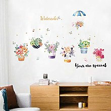 HGFJG Fresh Potted Wall Sticker Wallpaper Living