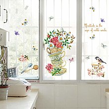 HGFJG Hand Painted Cup Flower Wall Decals Cabinet