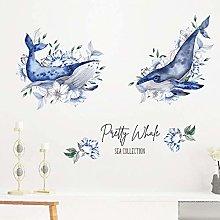 HGFJG Hand Painted Shark Blue Flowers Living Room
