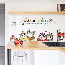 HGFJG Lovely Cartoon Cat Wall Stickers Bedside