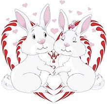 HGFJG Lovely Cartoon Rabbit Wall Sticker Kids Room