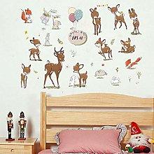 HGFJG Sika Deer Wall Sticker for Kids Room Cabinet