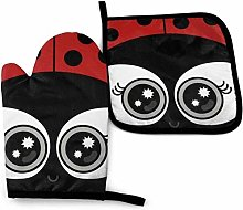 HGFK Cute Ladybug Oven Mitts and Pot Holders Set,