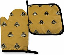 HGFK Oven Mitts and Pot Holders BBQ Gloves, Bees