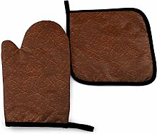 HGFK Oven Mitts and Pot Holders BBQ Gloves, Brown