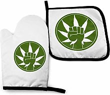 HGFK Oven Mitts and Pot Holders BBQ Gloves, Papa
