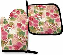 HGFK Oven Mitts and Pot Holders BBQ Gloves, Rose