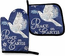 HGFK Peace On Earth Christmas Oven Mitts and Pot