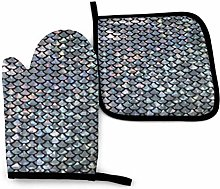 HGFK Silver Fish Scale Oven Mitts and Pot Holders