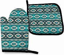 HGFK Southwest Navajo Pattern Oven Mitts and Pot