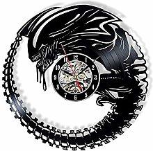 HGlSG LED Colorful LED vinyl wall clock Alien