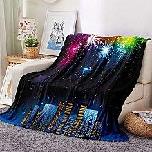 HGSWYUD Flannel Blanket 3D Fireworks Sherpa