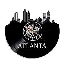 hhhjjj Atlanta Skyline Wall Clock Retro Clock