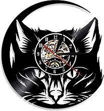 hhhjjj Cat head wall clock black cat vinyl wall