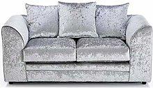 HHI 2 Seater Silver Crushed Velvet Sofa