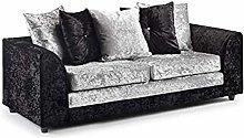 HHI Black/Silver Mixed Crushed Velvet Sofas (3