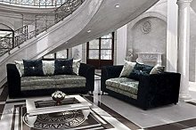 HHI Black/Silver Mixed Crushed Velvet Sofas -