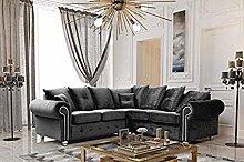 HHI Dark Grey Plush Fabrics Sofas for living Room