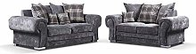 HHI Grey Fabric 3 seater sofa + 2 Seater sofas &