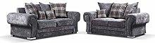 HHI Grey Fabric 3 seater sofa + 2 Seater sofas &