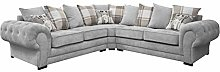HHI Grey Fabric Corner Couch L Shaped Sofa Settee