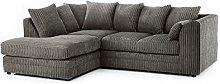 HHI Jumbo Cord Fabric Grey Corner Sofa (Left