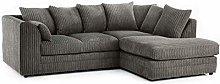 HHI Jumbo Cord Grey Corner Sofa (Right Side Sofa)