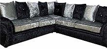 HHI L Shaped Black/Silver Crushed Velvet Fabric
